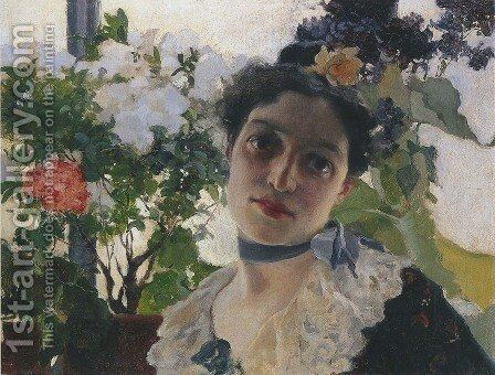 Portrait of Clothilde by Joaquin Sorolla y Bastida - Reproduction Oil Painting