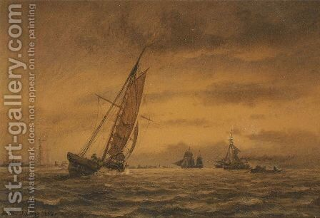 Numerous sailing ships at sea by Anton Melbye - Reproduction Oil Painting