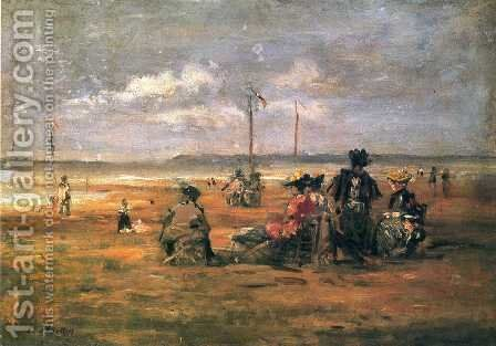 Beach Scene 2 by Eugène Boudin - Reproduction Oil Painting
