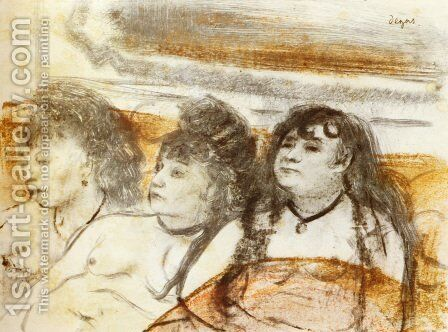 Three girls sitting en face by Edgar Degas - Reproduction Oil Painting