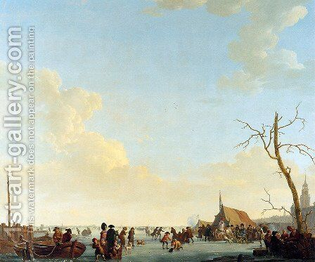 Merriment on frozen river by Abraham van, I Strij - Reproduction Oil Painting