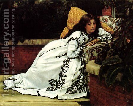 A Girl in an Armchair by James Jacques Joseph Tissot - Reproduction Oil Painting