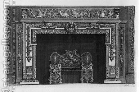 Fireplace that has a second floor on the frieze of putti cavalcanti dolphins and sea monsters, a rich interior wing by Giovanni Battista Piranesi - Reproduction Oil Painting