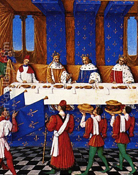 Banquet Given by Charles V (1338-80) in Hhonour of His Uncle Emperor Charles IV (1316-78) in 1378 by Jean Fouquet - Reproduction Oil Painting