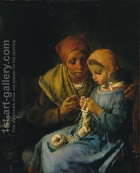 The Knitting Lesson 2 by Jean-Francois Millet - Reproduction Oil Painting