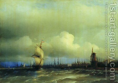 View of Amsterdam by Ivan Konstantinovich Aivazovsky - Reproduction Oil Painting