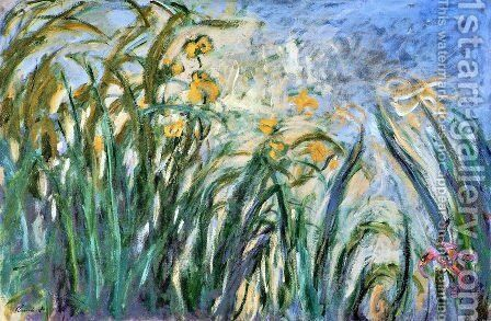 Yellow Irises and Malva by Claude Oscar Monet - Reproduction Oil Painting