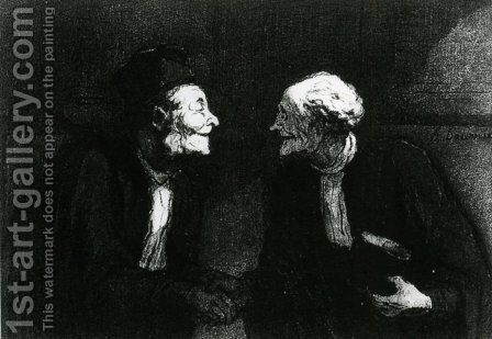 Two Lawyers the Handshake by Honoré Daumier - Reproduction Oil Painting
