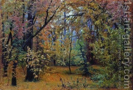 Autumn forest by Ivan Shishkin - Reproduction Oil Painting