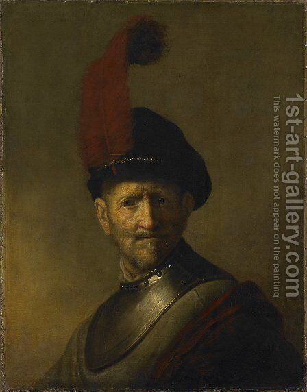 An Old Man in Military Costume (formerly called Portrait of Rembrandt's Father) by Rembrandt - Reproduction Oil Painting
