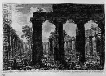 View of the facade of the pronaos by Giovanni Battista Piranesi - Reproduction Oil Painting