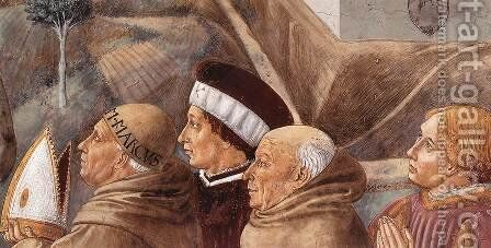 Preaching to the Birds and Blessing Montefalco (detail) by Benozzo di Lese di Sandro Gozzoli - Reproduction Oil Painting
