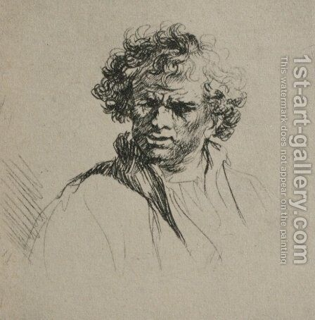 A Man with Curly Hair by Rembrandt - Reproduction Oil Painting