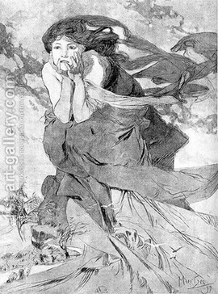 Novem by Alphonse Maria Mucha - Reproduction Oil Painting