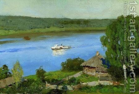 Landscape with a steamboat by Isaak Ilyich Levitan - Reproduction Oil Painting