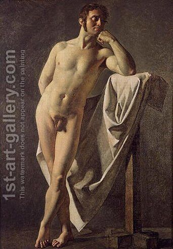 Male nude by Jean Auguste Dominique Ingres - Reproduction Oil Painting