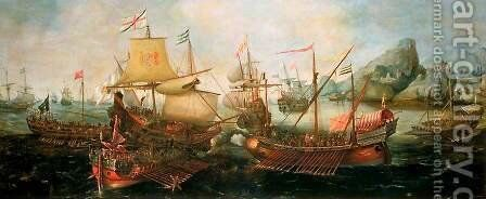 Attack on Spanish Treasure Galleys, Portugal by Hendrick Cornelisz. Vroom - Reproduction Oil Painting