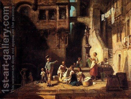 Washerwomen at the Well by Carl Spitzweg - Reproduction Oil Painting