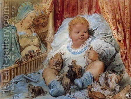 The childhood of Pantagruel by Gustave Dore - Reproduction Oil Painting