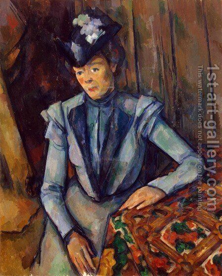 Woman in Blue. Madame Cezanne by Paul Cezanne - Reproduction Oil Painting