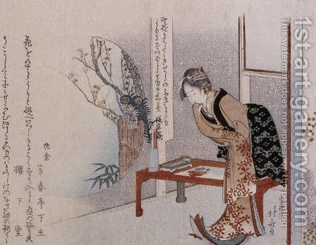 Woman in an Interior by Katsushika Hokusai - Reproduction Oil Painting