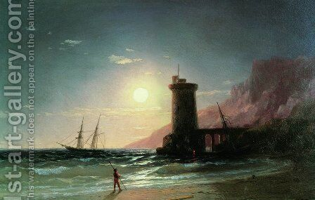 Seascape with Moon by Ivan Konstantinovich Aivazovsky - Reproduction Oil Painting