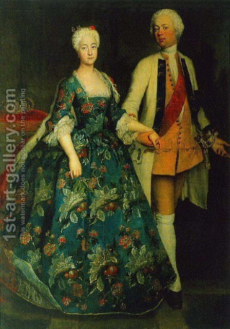 Princess Sophie Dorothea Marie with her husband, Frederick William, Margrave of Brandenburg Schwedt by Antoine Pesne - Reproduction Oil Painting