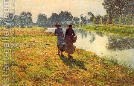 Young peasant women at the leie by Emile Claus - Reproduction Oil Painting