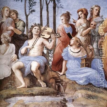 The Parnassus, from the Stanza delle Segnatura (detail) 2 by Raphael - Reproduction Oil Painting