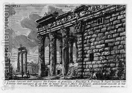 The Roman antiquities, t. 1, Plate XXXI. Temple of Antonius and Faustina. by Giovanni Battista Piranesi - Reproduction Oil Painting