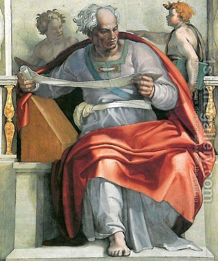Sistine Chapel Ceiling The Prophet Joel by Michelangelo - Reproduction Oil Painting