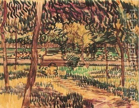 Trees in the Garden of the Asylum by Vincent Van Gogh - Reproduction Oil Painting