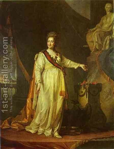 Portrait of Catherine II as Legislator in the Temple of the Goddess of Justice by Dmitry Levitsky - Reproduction Oil Painting