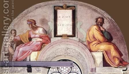 The Ancestors of Christ Azor, Sadoch by Michelangelo - Reproduction Oil Painting