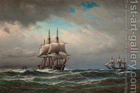 Ships at sea by Anton Melbye - Reproduction Oil Painting