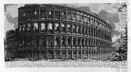 The Roman antiquities, t. 1, Plate XXXVII. View of Flavian Amphitheatre and the Colosseum. by Giovanni Battista Piranesi - Reproduction Oil Painting