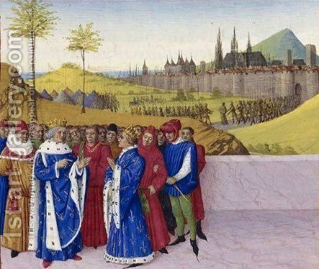 Conversation Between St. Gontran and St. Childebert II by Jean Fouquet - Reproduction Oil Painting