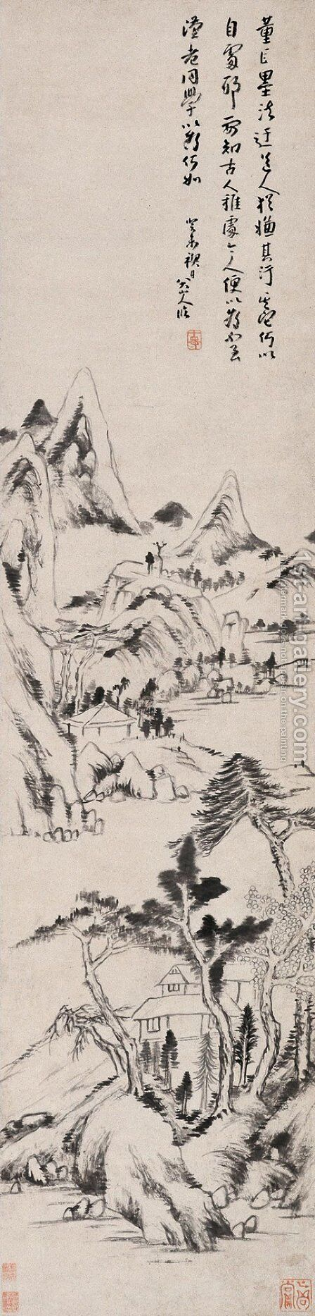 Landscape (Dong Yuan and Juran Style) by Bada Shanren - Reproduction Oil Painting