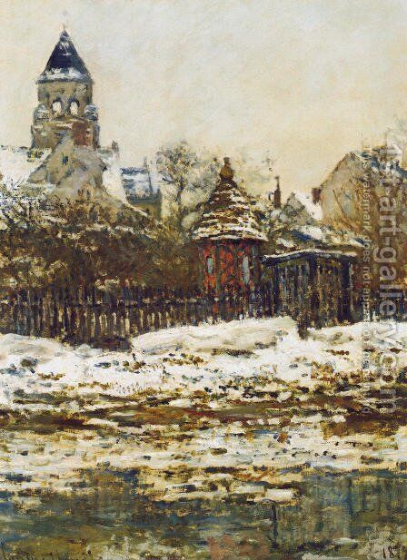 Vetheuil, The Church  in Winter by Claude Oscar Monet - Reproduction Oil Painting