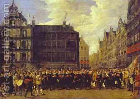 Members of Antwerp Town Council and Masters of the Armaments Guild by David The Younger Teniers - Reproduction Oil Painting