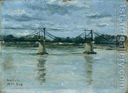The old bridge in Ancenis by Maxime Maufra - Reproduction Oil Painting