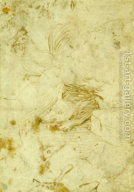 Fox and rooster by Hieronymous Bosch - Reproduction Oil Painting