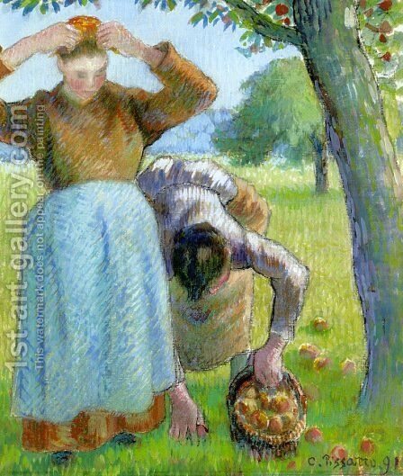 Apple Gatherers by Camille Pissarro - Reproduction Oil Painting
