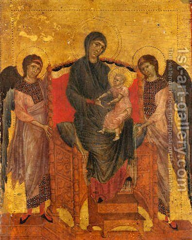 The Virgin and Child Enthroned with Two Angels by (Cenni Di Peppi) Cimabue - Reproduction Oil Painting