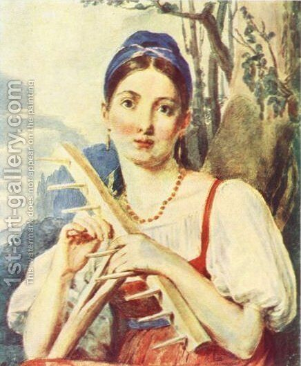 A Peasant Woman with a Rake by Aleksei Gavrilovich Venetsianov - Reproduction Oil Painting