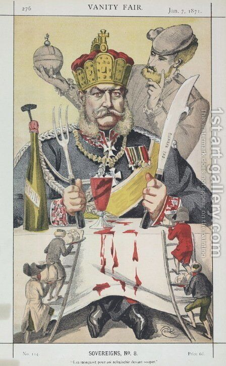 Sovereigns No.80 Caricature of The King of Prussi by James Jacques Joseph Tissot - Reproduction Oil Painting