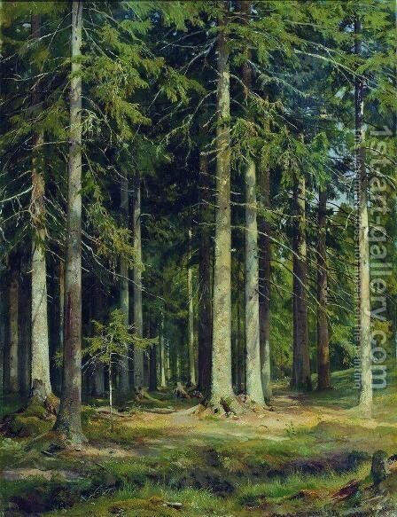 Fir forest 2 by Ivan Shishkin - Reproduction Oil Painting