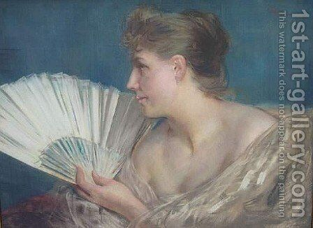 Femme a l'eventail by Charles Hermans - Reproduction Oil Painting