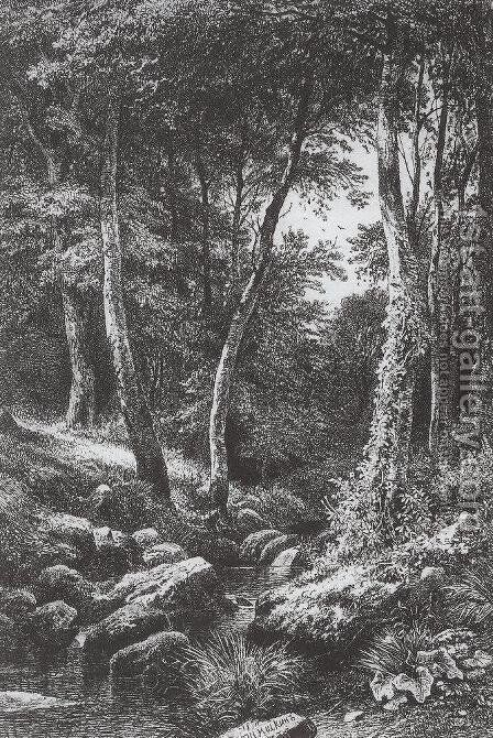 Forest Stream 6 by Ivan Shishkin - Reproduction Oil Painting