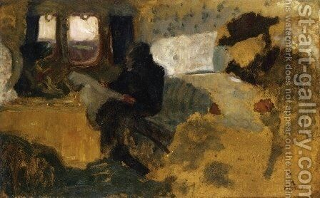 The First Class Compartment by Edouard  (Jean-Edouard) Vuillard - Reproduction Oil Painting